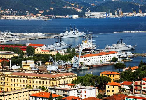 High Angle View Of Battleships Moored At Harbor Fotobehang