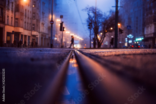 Photo Person Walking On Road At Night