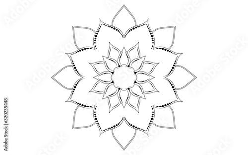 Circular pattern flower of mandala with black and white,Vector mandala floral pa Wallpaper Mural