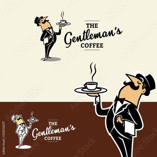 Vintage Cartoon of Classy Waiter Bringing Coffee Logo Canvas Print