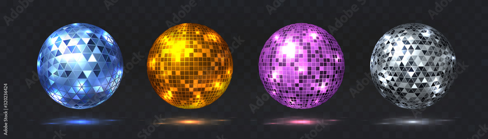 Fototapeta Disco balls. Night club party element with mirror surface, silver and golden dance club light effect. Vector retro futuristic technology 80s isolated glitter party spheres set