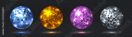 Disco balls. Night club party element with mirror surface, silver and golden dance club light effect. Vector retro futuristic technology 80s isolated glitter party spheres set - 320236424