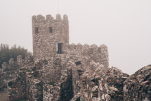 The Moorish Castle In Sintra, Portugal, Completely Socked In With Fog On A Winter Day