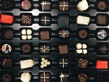 Full Frame Shot Of Chocolates In Box