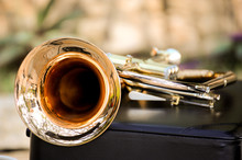 Close-Up Of Trumpet On Table