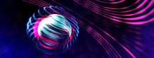 3D Neon Light Globe Orbit Spin...