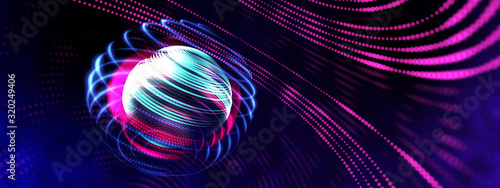 Fotografia 3D neon light globe orbit spinning in circle, digital smart world future technology science wide screen web banner backgrounds