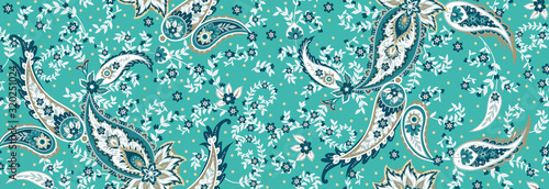 Obraz Seamless ethnic pattern of paisley and decorative floral branches. Indian motif. Vector background - fototapety do salonu