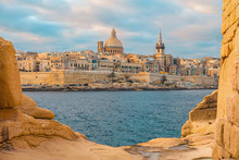 View Of Valletta, Malta Old Town Skyline From Sliema City On The Other Side Of Marsans Harbor