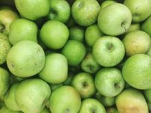 Full Frame Shot Of Granny Smith Apples At Market