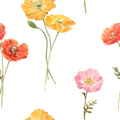 FototapetaBeautiful floral summer seamless pattern with watercolor hand drawn field wild flowers. Stock illustration.