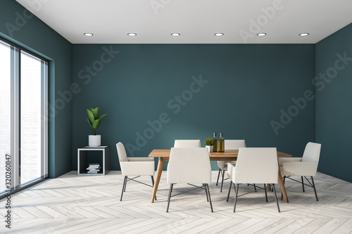 Zobacz obraz Blue panoramic dining room interior