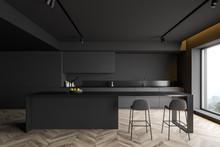 Dark Gray Kitchen Interior Wit...