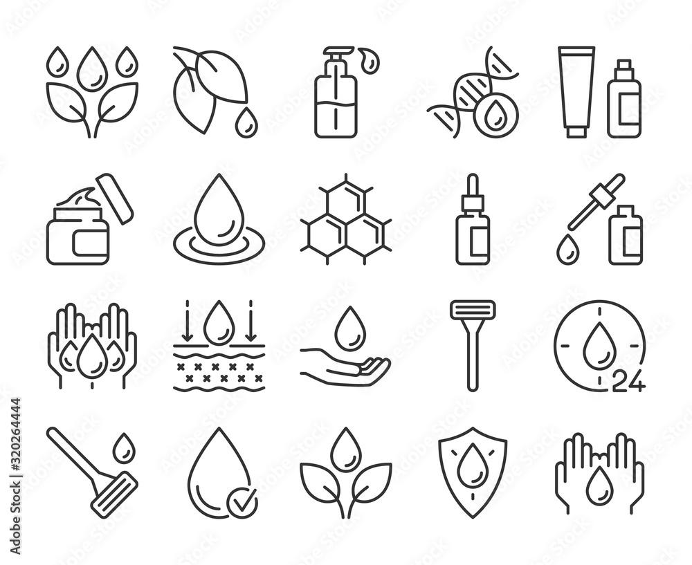 Fototapeta Skin care icon. Natural Skin Care Ingredients line icons set. Editable stroke.