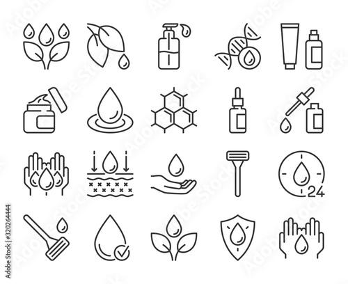 Obraz Skin care icon. Natural Skin Care Ingredients line icons set. Editable stroke. - fototapety do salonu