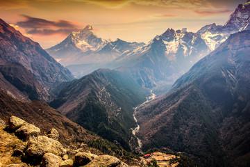 Evening view Himalaya mountains with beautiful sky. Sagarmatha national park. Nepal.