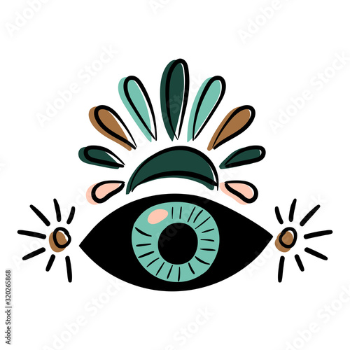 Photo Third Eye. The concept of meditation, vision of energy, aura