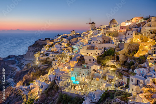 High Angle View Of Buildings At Santorini - fototapety na wymiar