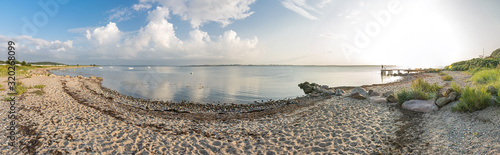 Fototapeta High resolution widescreen panorama shot of scenic beach and bay at the Baltic S