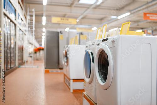 Fotografía New washing machines in electronics store, nobody