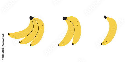 Set with banana fruit on a white background Fototapete