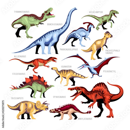 Dinosaur Color Cartoon Set Canvas Print