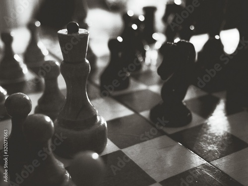 Photo Close-Up Of Chess Pieces On Board