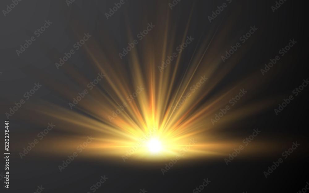 Fototapeta Sunrise. Sunlight special lens flash light effect on transparent background. Effect of blurring light. Vector Illustration