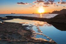 Rocky Coastline Of Malta And M...