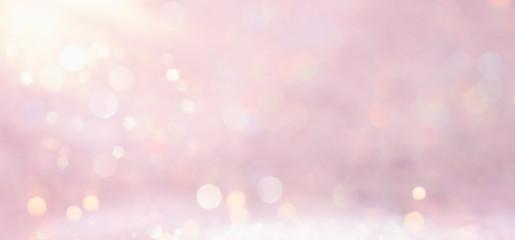 silver and pink glitter vintage lights background. defocused