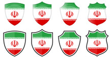 Vertical Iran Flag In Shield Shape, Four 3d And Simple Versions. Persian Icon / Sign