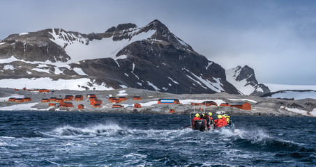Expedition landing, Esperanza base, a permanent Argentine research station on the Antarctic Peninsula