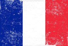 Flag Of The France In Grunge S...
