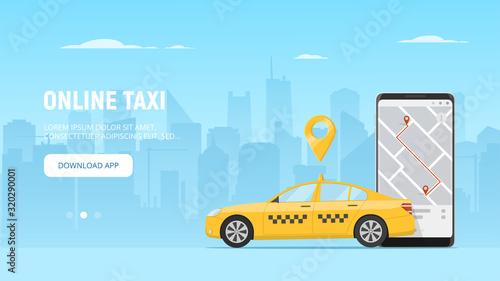 Online taxi app web banner template Fotobehang