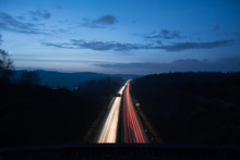 Highway In Germany At Night Wi...