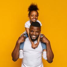 Cheerful Portrait Of Black Dad...