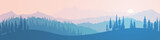 Fototapeta  - Vector illustration of mountains, ridge in the morning haze, panoramic view. Trees against the setting sun.