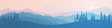 Vector Illustration Of Mountai...