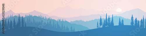 Fotografiet Vector illustration of mountains, ridge in the morning haze, panoramic view