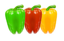 Three Colored Bell Peppers Iso...