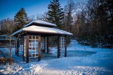 Asian Style Gazebo In The Snowy Park In Winter Season