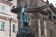 Monument To Charles IV On Crusader Square Near Charles Bridge In Prague Old Town
