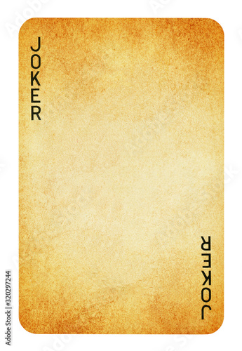 Photo Joker Vintage playing card - isolated on white (clipping path included)