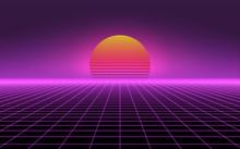 Retro Background Futuristic La...