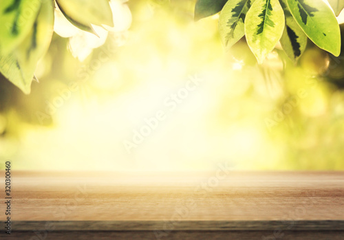 Fototapeta Wooden table and blurred spring background. Spring concept with green nature outdoor. obraz na płótnie