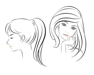 girl face long hair portrait isolated on white background. hand drawn vector illustration