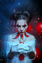 Young Modern Woman Clown Old C...