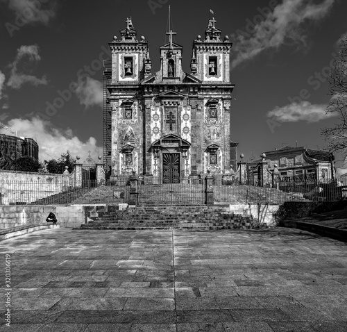 Ancient temples in the Azulejo style of the old city of Porto. Portugal. black and white