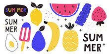 Set Of Summer Decorative Elements With Blue Banana Leaves And Fruit On A White Background. Vector Illustration For Printing On Fabric, Tableware, Packaging Paper, Postcard, Banners.
