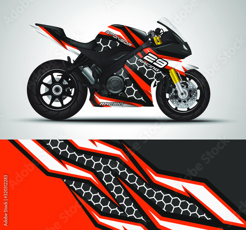 Racing motorcycle wrap decal and vinyl sticker design Canvas
